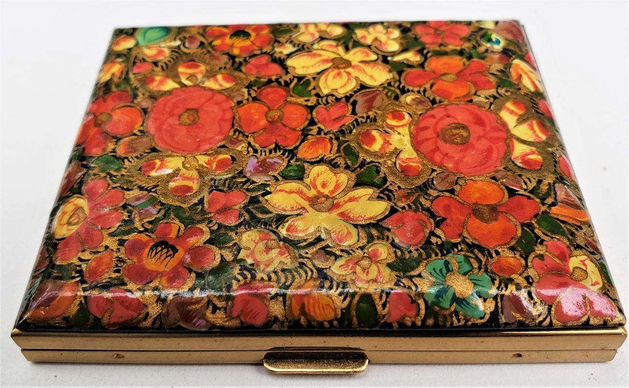 Vintage Cosmetic Compact Enameled Brass 1950s-60s Multicolor Flowers