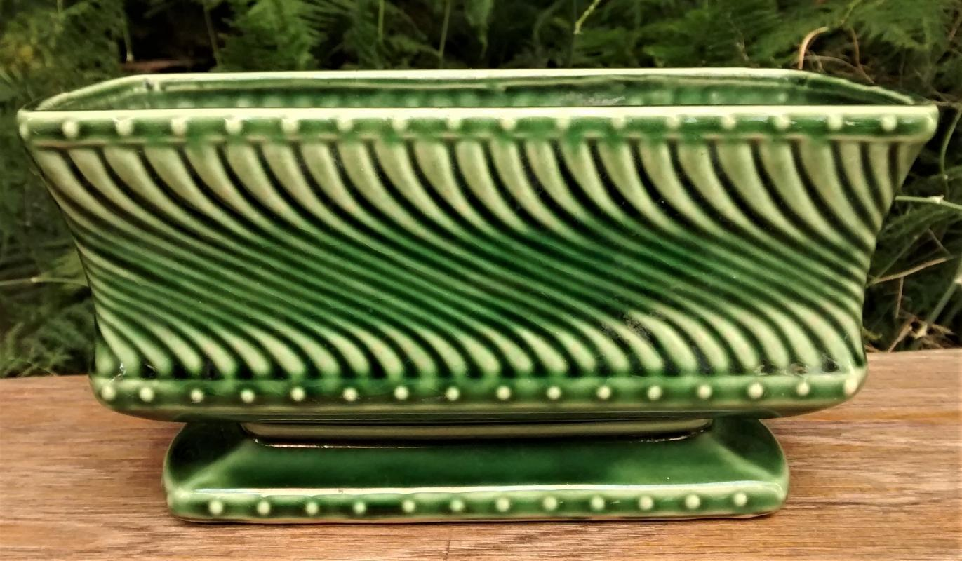 Vintage McCoy Swirl Planter Green 7.5