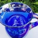 Vintage Gibson Electric Blue Pitcher 1980s Carnival Glass