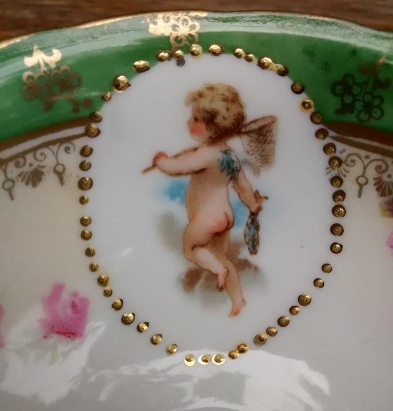 Antique Cupid w/Fish Cup & Saucer Early 1900s