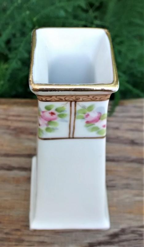 Antique Nippon Bud Vase/Hatpin Holder Hand-Painted Roses 4.75