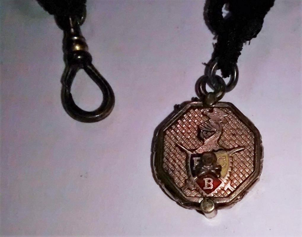 Antique Knights of Pythias Watch Fob Locket w/Chain Ca. 1890