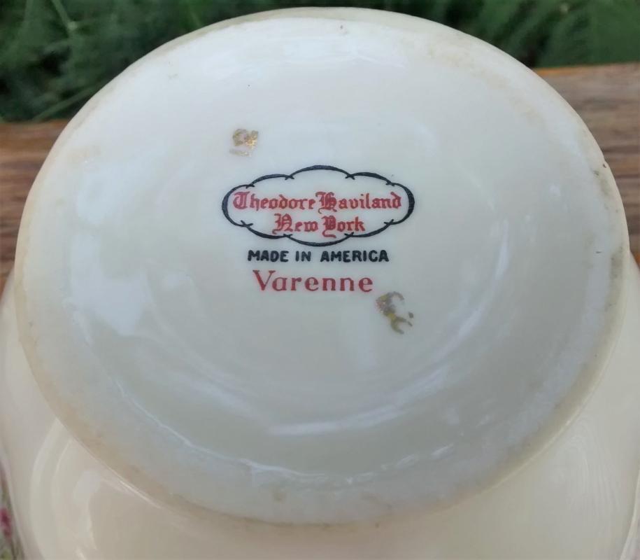 Vintage Haviland Limoges Varenne Cream & Sugar w/Lid
