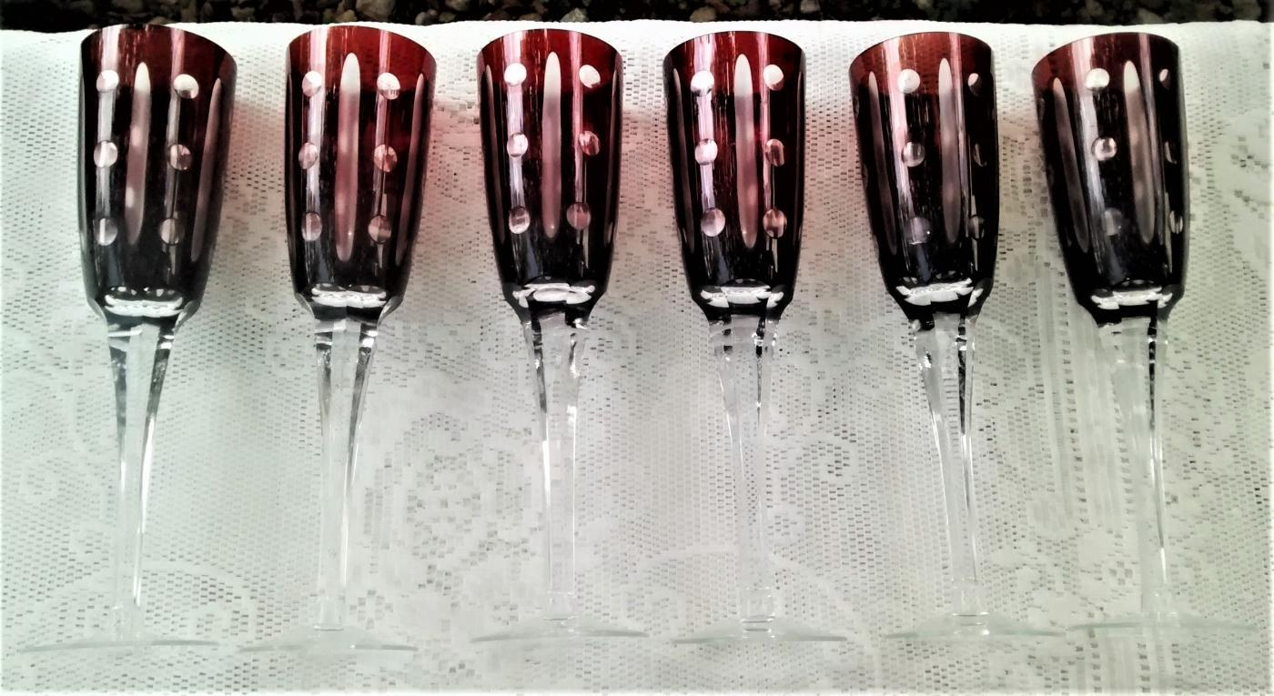 Vintage Bohemian Ruby-Cut-to-Clear Flute Champagne Set/6
