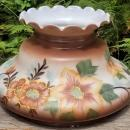 Vintage Hand-Painted Lamp Shade Brown w/Orange/Red Flowers 10
