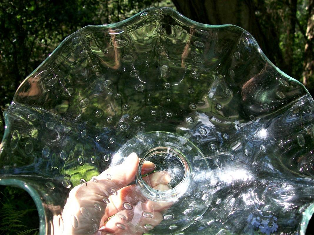 Vintage Bischoff Pedestal Bowl Controlled Bubble Blown Glass MCM