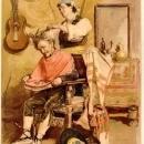 Antique Charles Stanley Reinhart Lithograph Barber 1881 Paris