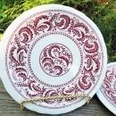 Vintage Shenango Peppercorn Restaurant Plate Pair Mid-70s Red/White
