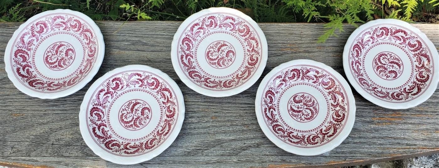 Vintage Shenango Peppercorn Restaurant Plate Set/5 Mid-70s Red/White