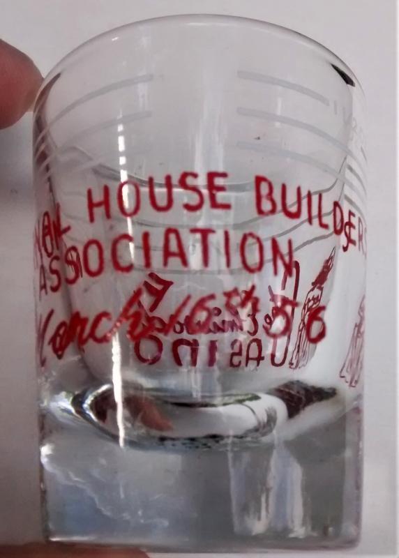 Vintage Elmwood Casino Shot Glass Advertising Windsor Canada 1956 House Builders Assoc.