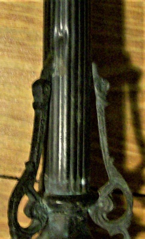 Antique Bronze Christian Altar Candlestick 1800s Jesus/Mary/Joseph