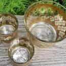 Vintage Culver Valencia Barware Set/3 22K Gold Green Diamonds MCM