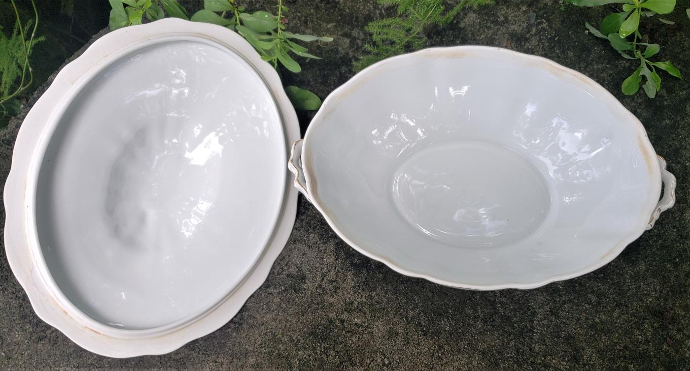 Antique Scherzer Bavaria Orleans Oval Vegetable Bowl w/Lid Pk Rose Swags