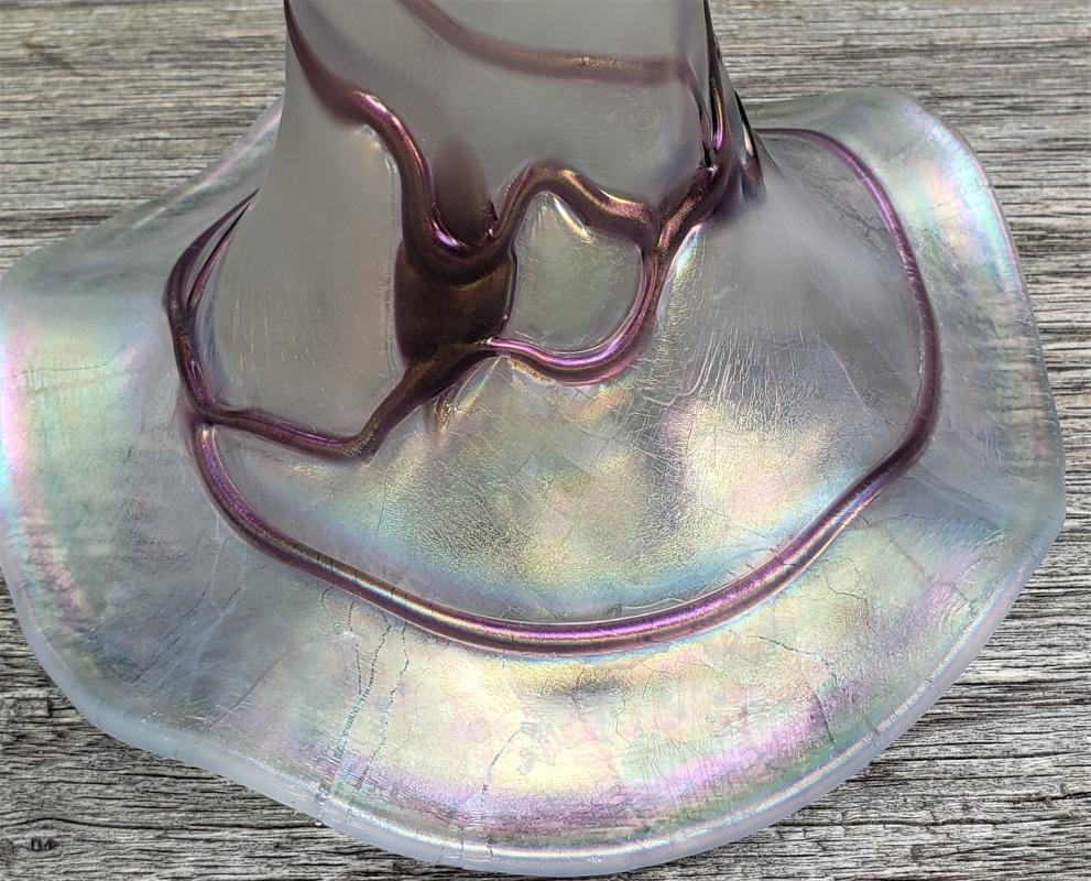 Vintage German Poschinger Fleurs Vase White/Purple 7.5