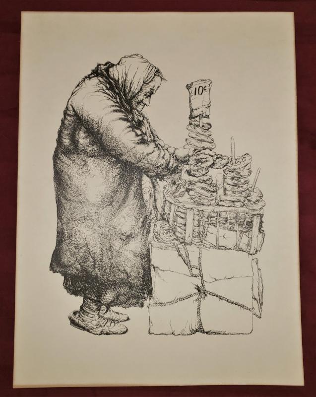 Vintage Seymour Rosenthal Pretzel Vendor Lithograph Print Urban Artist