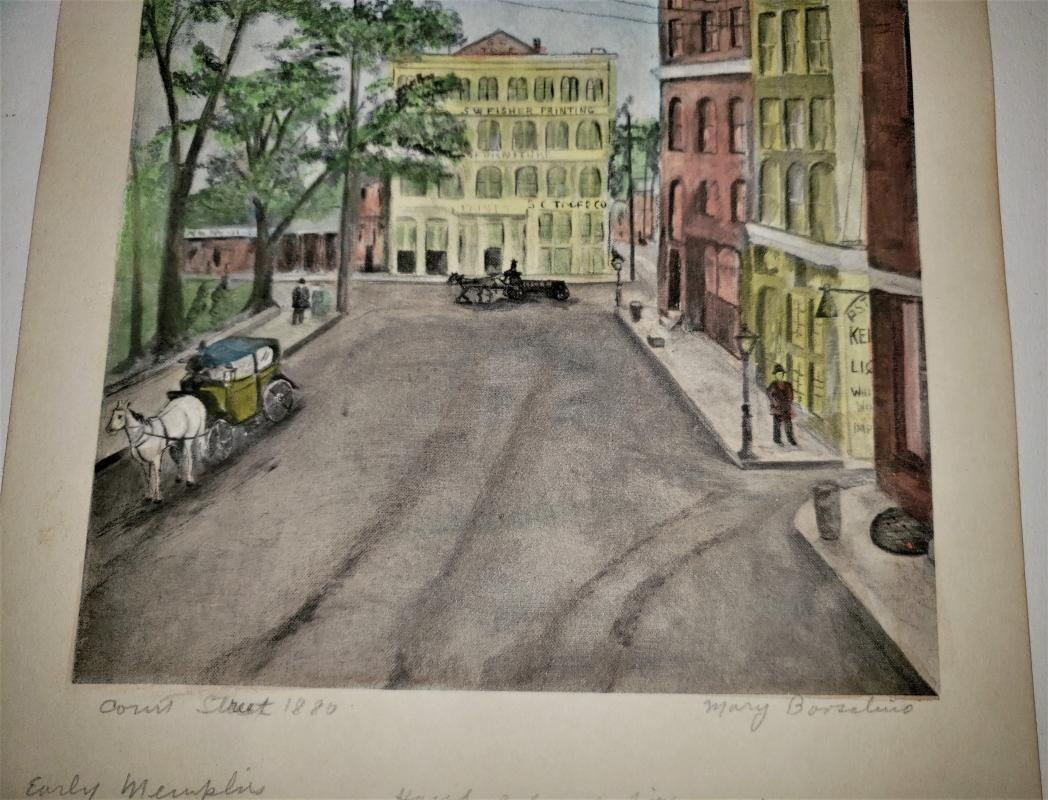 Vintage Borsalino Early Memphis Lithograph Print Hand-Colored Signed