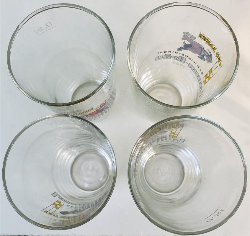 Vintage Schwieberdinger Lamm-Brau Beer Glass Set/4 1962