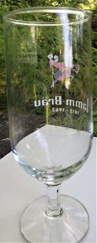 Vintage Schwieberdinger Lamm-Brau Stemmed Beer Glass 1962