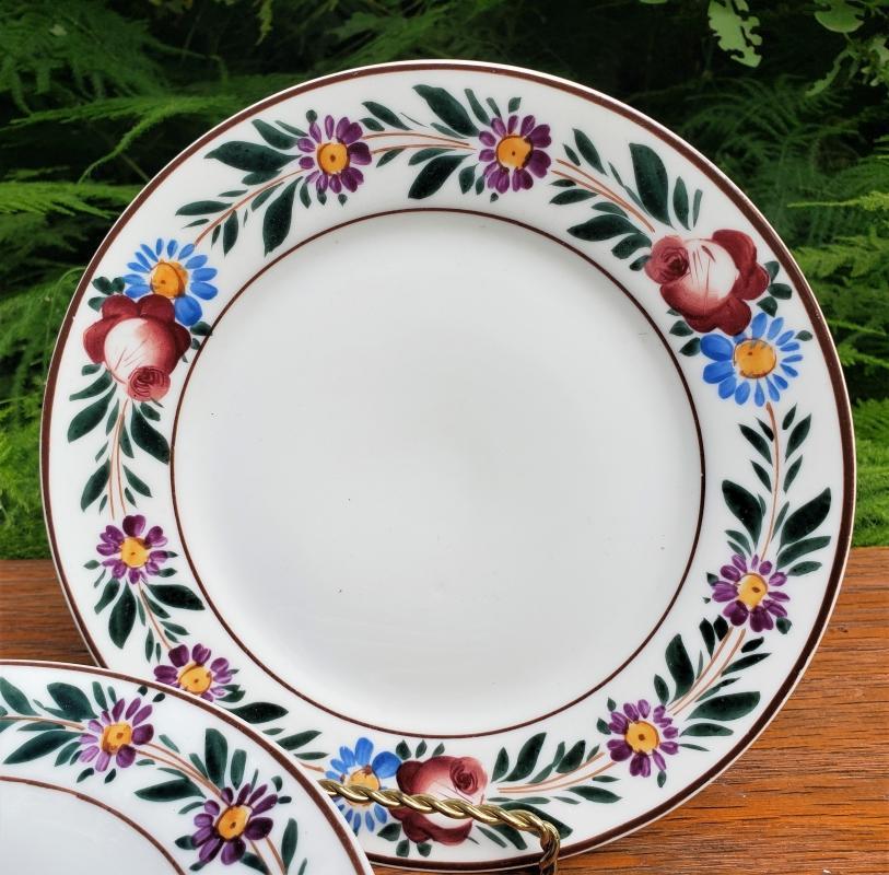 Antique Noritake Nippon Plate Set/6 Hand-Painted Flower Border Brown Trim