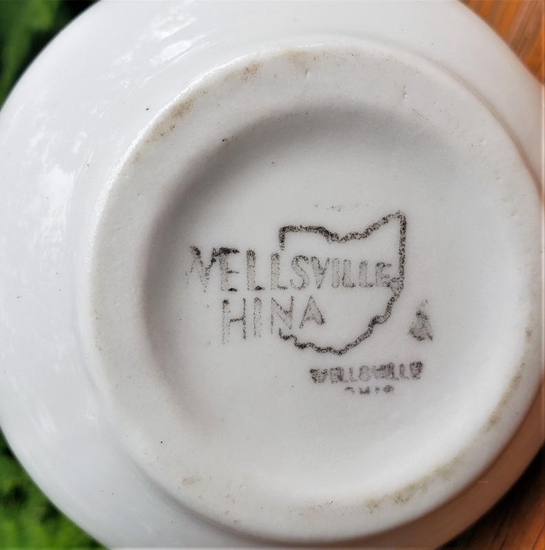 Vintage Wellsville Black Floral Restaurant Creamer 2.75