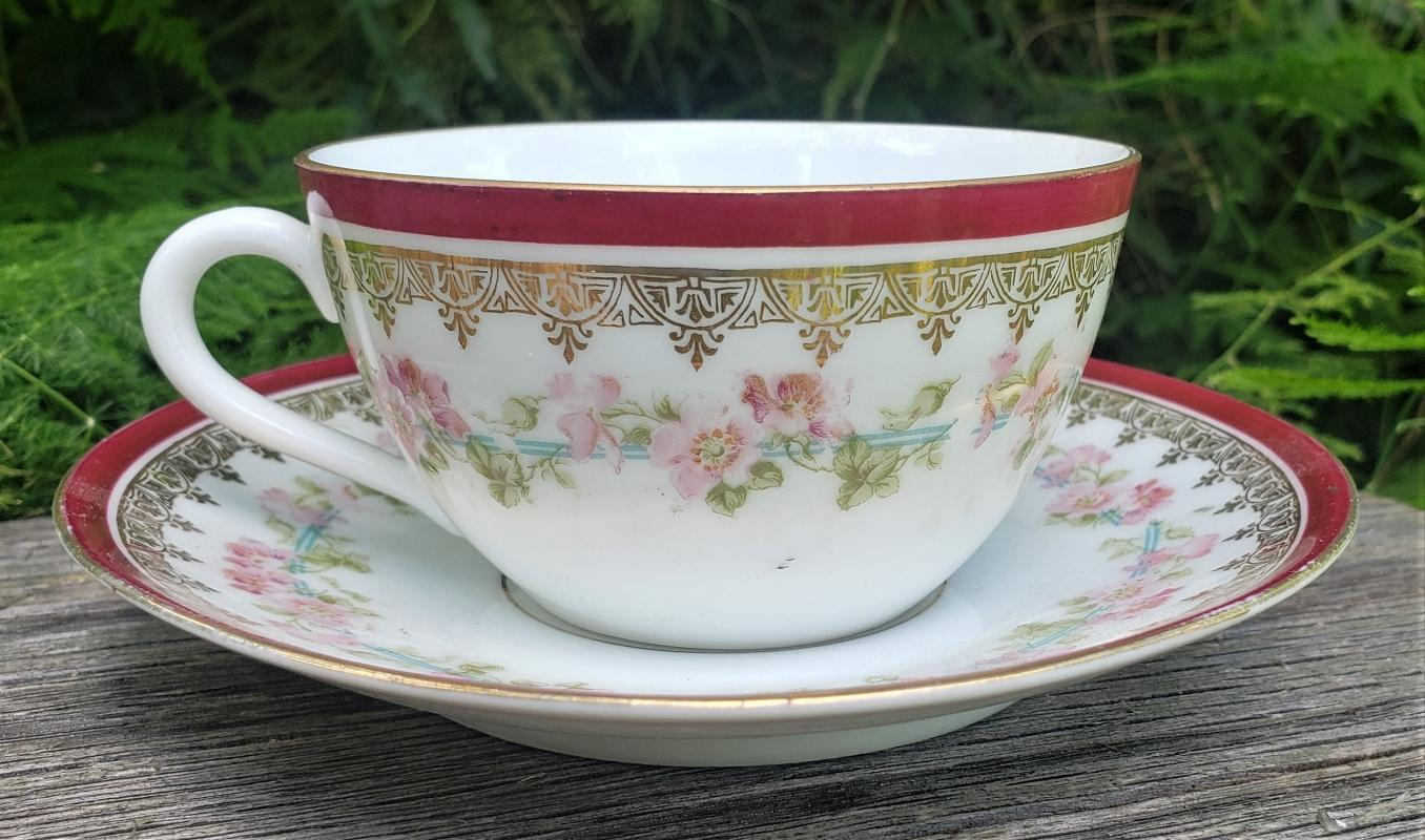 Antique Austria Red Band Cup/Saucer Pink Roses Early 1900s