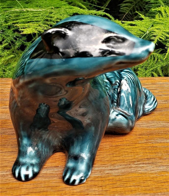 Vintage Poole Pottery #737 Badger Figurine Blue Glaze