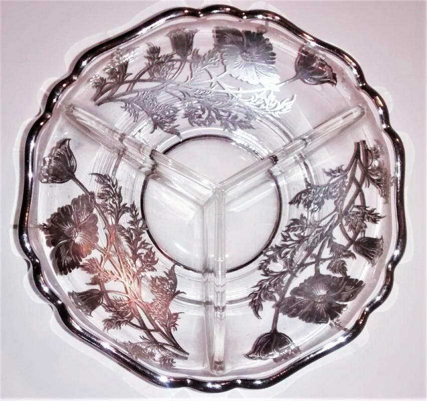 Vintage Silver City Flanders 3-Part Divided Dish Silver Overlay Poppies 1950s