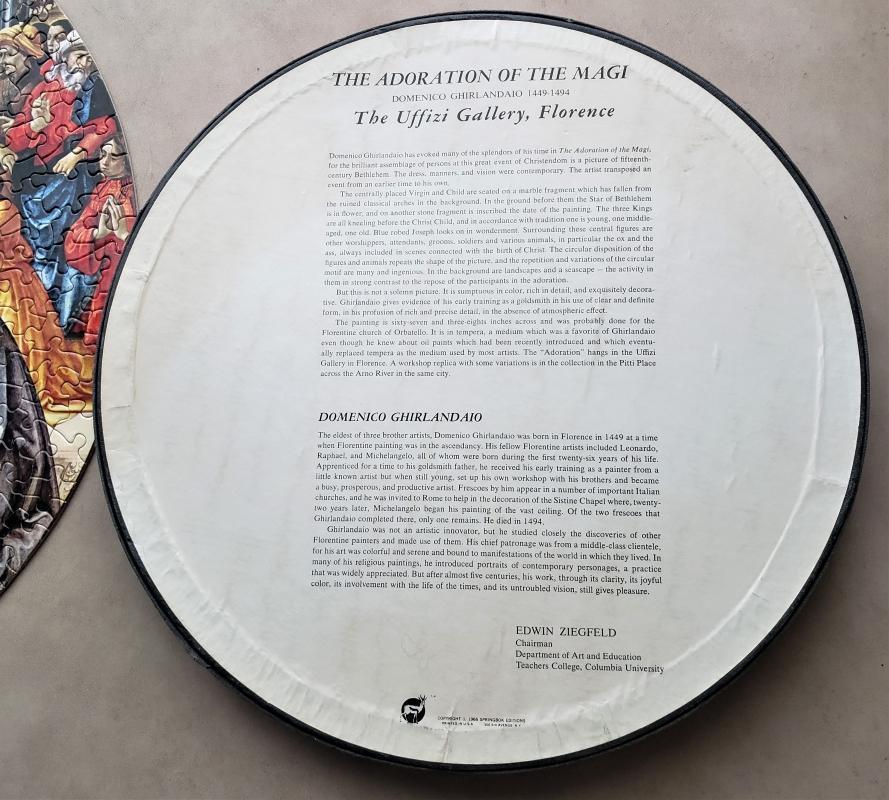 Vintage Springbok Circular Jigsaw Puzzle #C935 Adoration of the Magi Complete w/Box 1966