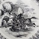 Antique Rorstrand Lion Slayer Plate Black Transfer 1790-1800 RARE