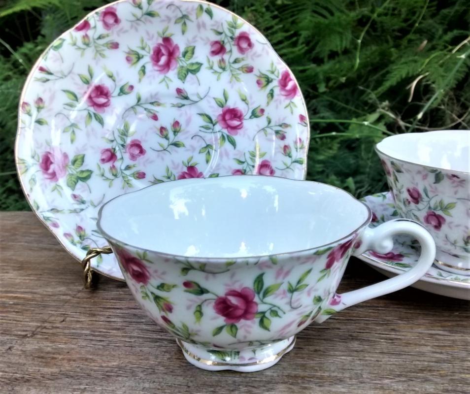 Vintage Lefton Rose Chintz Cup/Saucer Set/4 1960s