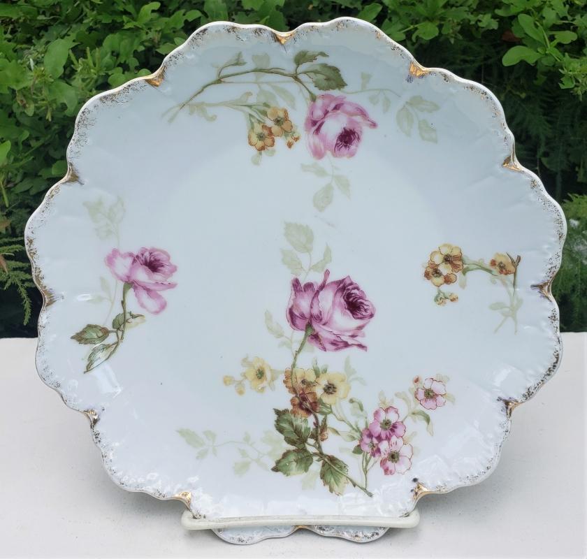 Antique Rosenthal R903 Malmaison Plate Pink/Yellow Flowers Ca. 1909 8