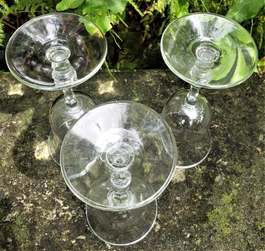 Vintage Rock Sharpe Frond Wine Glasses Set/3 Cut Floral 1930s