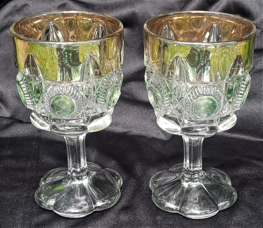 Antique #15117 Newport EAPG Goblet Pair Green Flashed 6