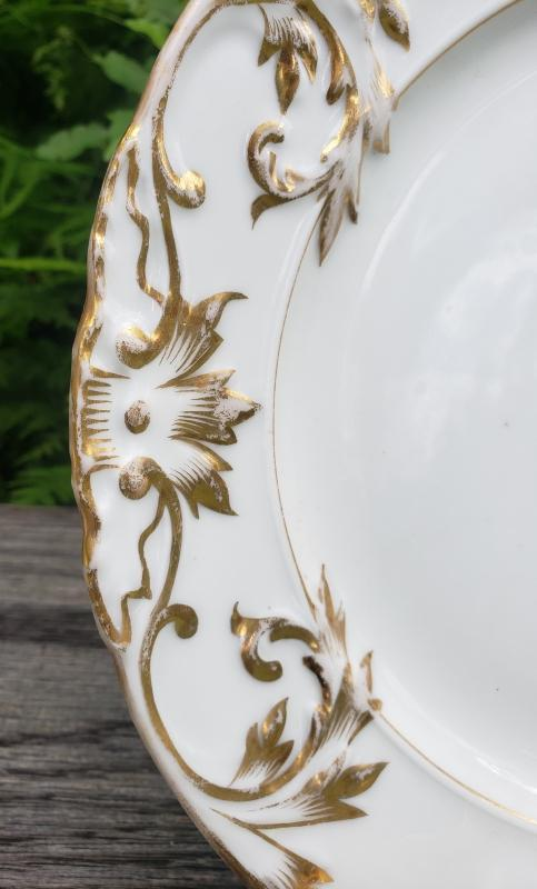 Antique Limoges Plate Gold/White Embossed Leaves/Scrolls 9.5