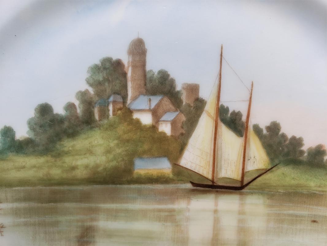 Antique Haviland Sailboat Scenes Plate Pair Hand-Painted HTF