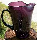Vintage Crackle Glass Pitcher Amethyst/Purple Blown 8.25