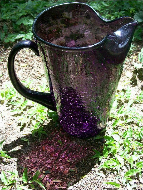 Vintage Crackle Glass Pitcher Amethyst/Purple Blown 8.25