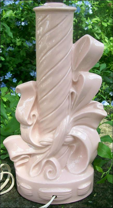 Vintage Electric Lamp Ribbon Wrap Motif Pink Ceramic Mid-Century