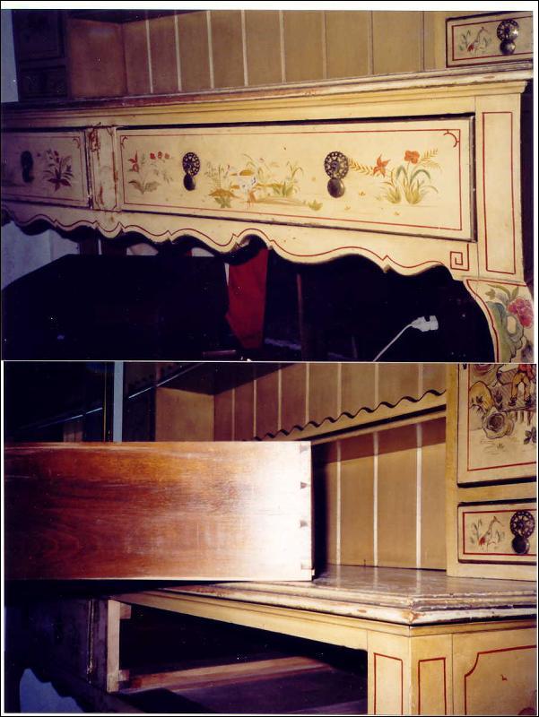 Chinoiserie Pewter Cupboard/Sideboard/Hutch 1920's Yale Locks