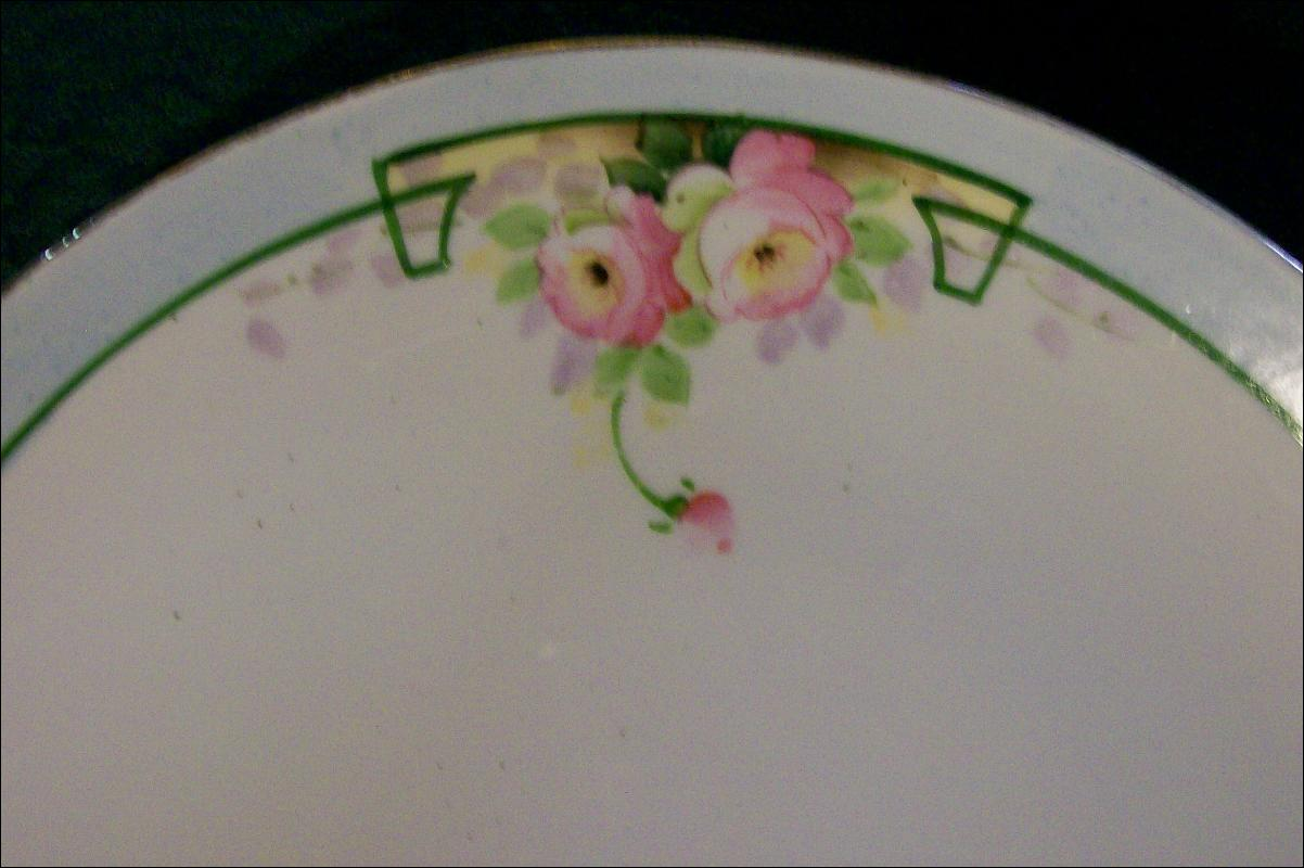 Nippon Ceramic Cake Plate with Hand-painted Roses Green Line NIP59