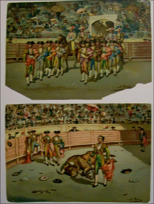 Antique Spanish Bullfight Chromolithograph Print Set of 12 by J. Arias