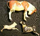 Antique Composition Toy Animals 1800's Germany Set of 3 As Is