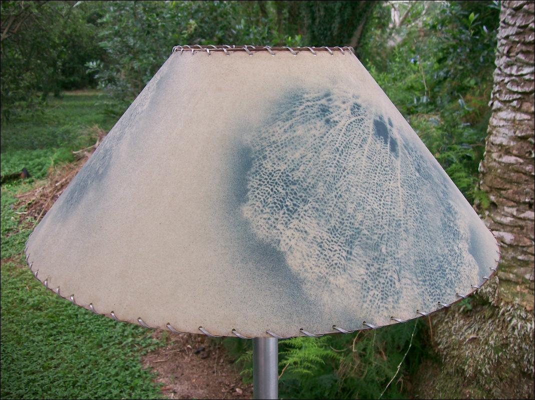 Vintage Aluminum Floor Lamp Fiberglas Shade Blue Seafans