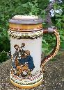Antique Mettlach Beer Stein #1471 Musicians C. Warth Artist 1895 Germany