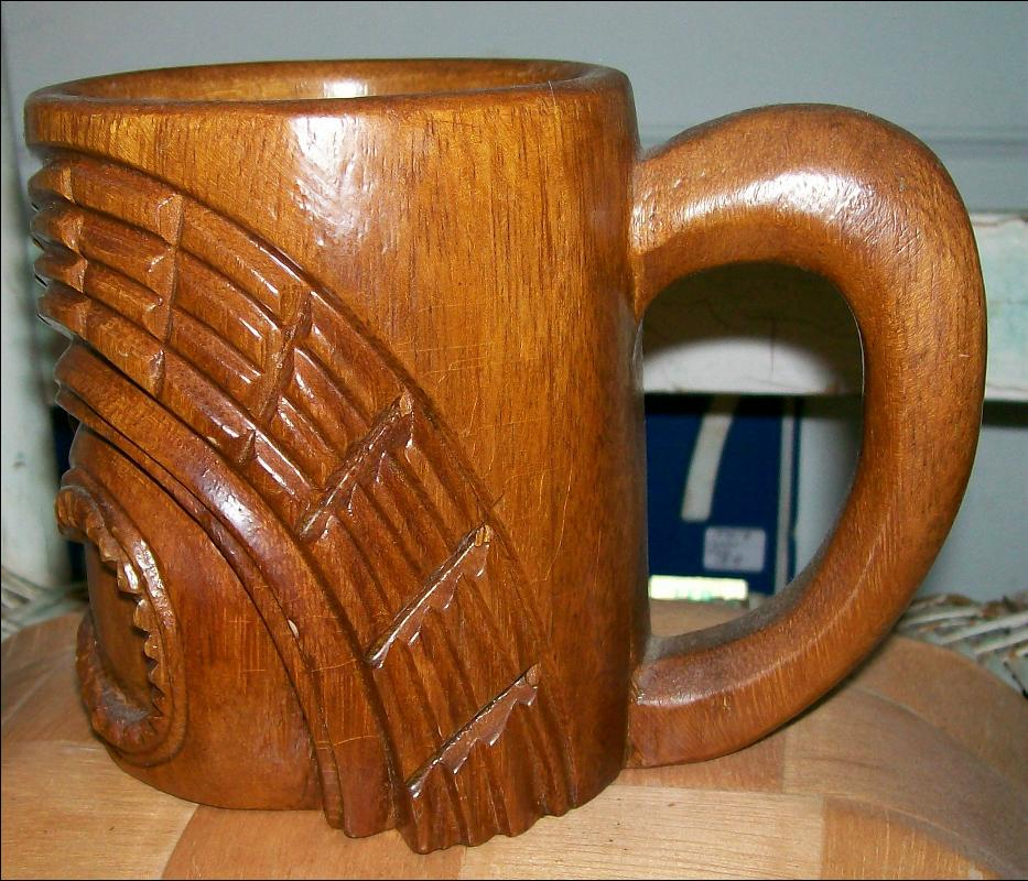 Vintage Philippine Islands Tiki Mug Hand-Carved Wood 1960s-70s