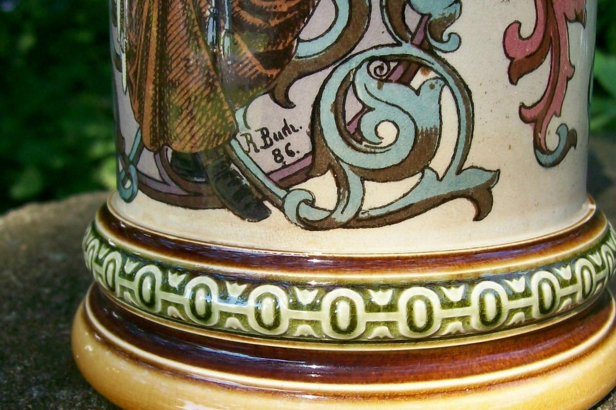 Antique Mettlach Stein Smoker #1530 R. Buch Artist 1894 Ceramic