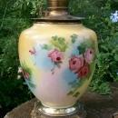 Antique Center Draft Oil Lamp Victorian Vase GWTW Roses NO SHADE