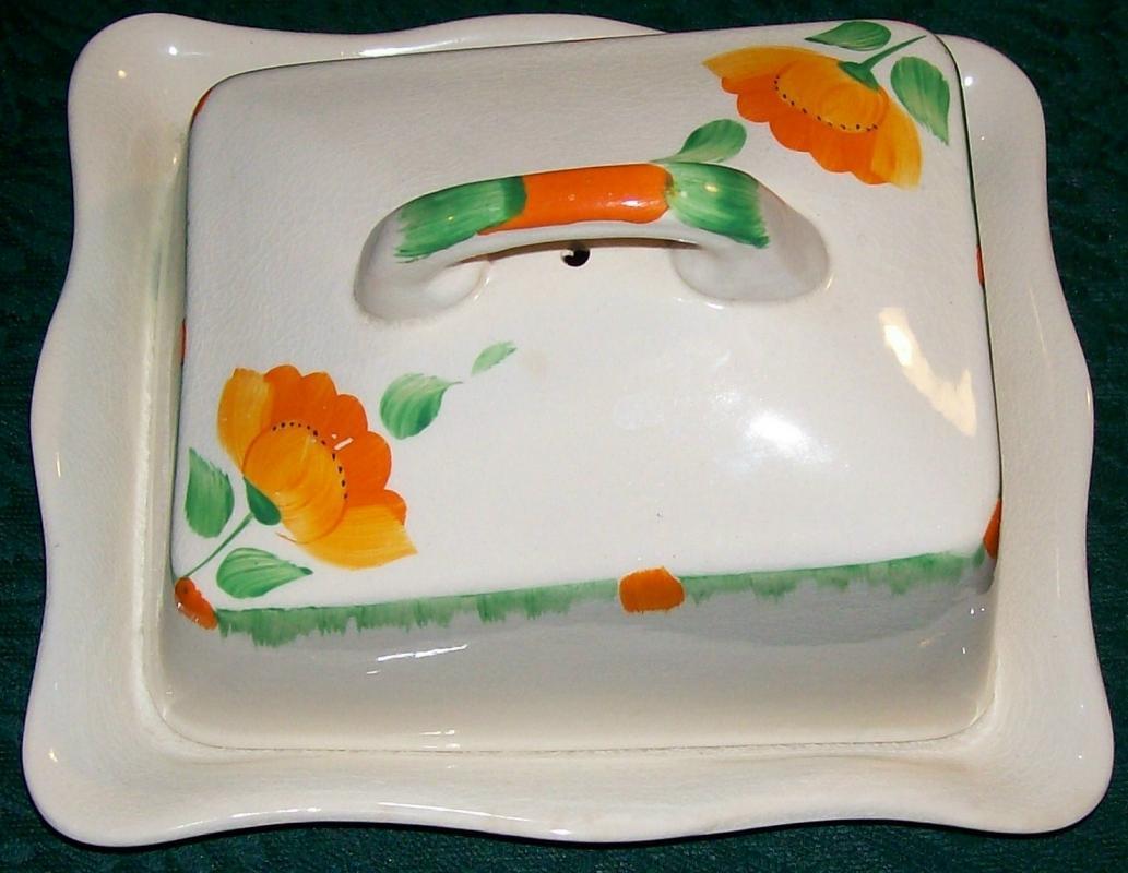 Swinnertons Art Deco Luxor Ivory Ceramic Cheese Dish & Cover Orange/Green 1940s