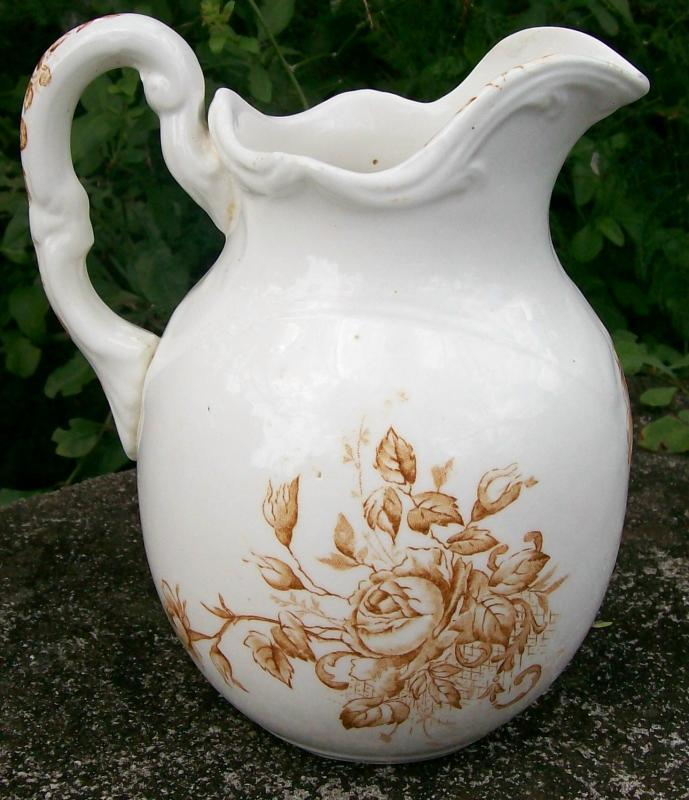 Antique Brown Rose Transfer Pitcher 1800's 7 3/8