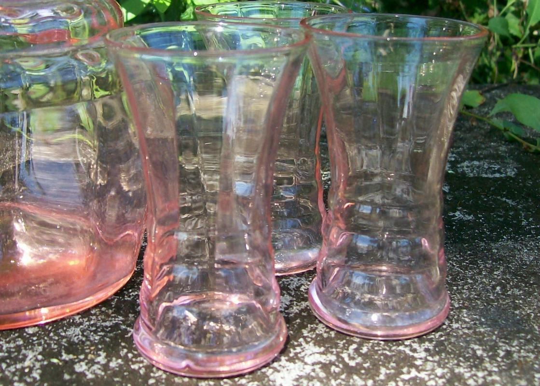 Vintage Paden City Party Line Decanter Set for 6 Pink Glass 1930s